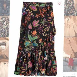 H&M black floral flounce midi skirt, NWT, size S